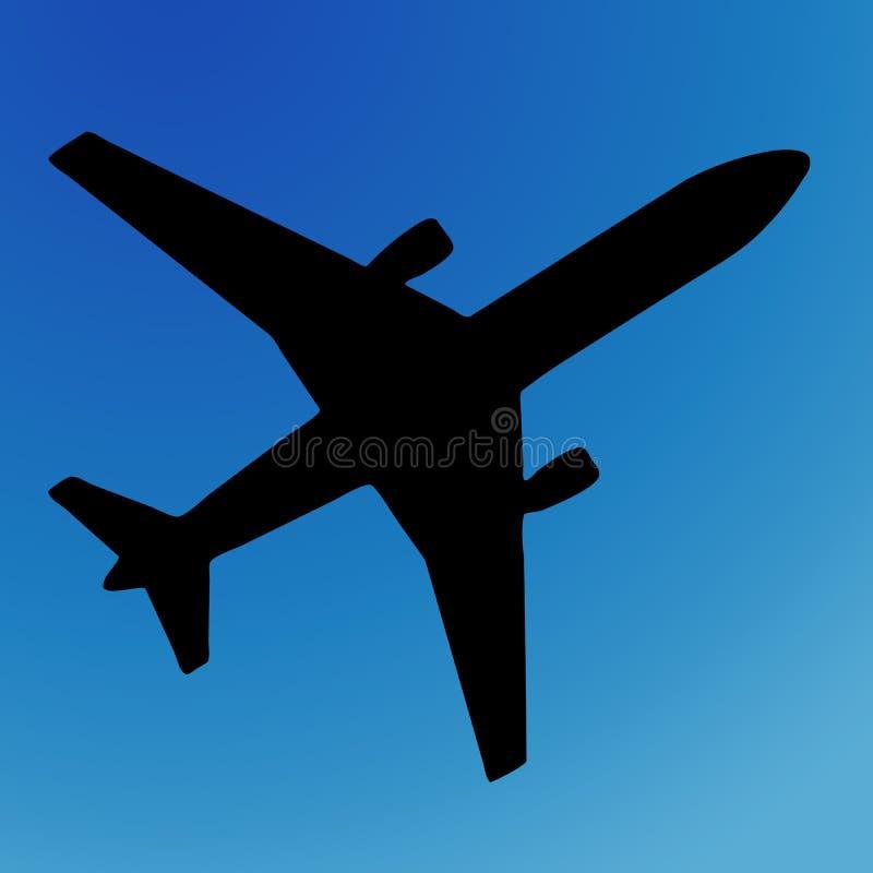 Het silhouet van het vliegtuig royalty-vrije illustratie