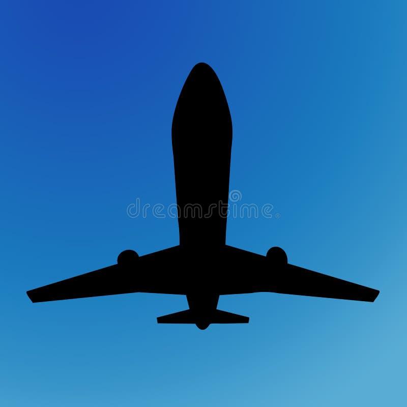 Het silhouet van het vliegtuig stock illustratie