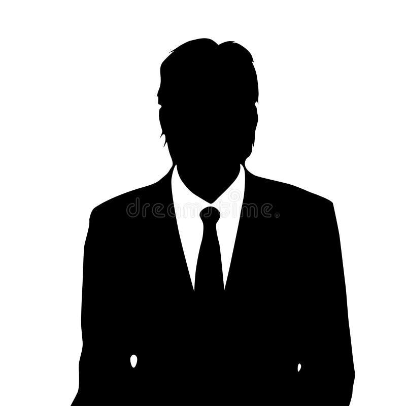 Het silhouet van het zakenmanportret, mannelijk pictogram stock illustratie