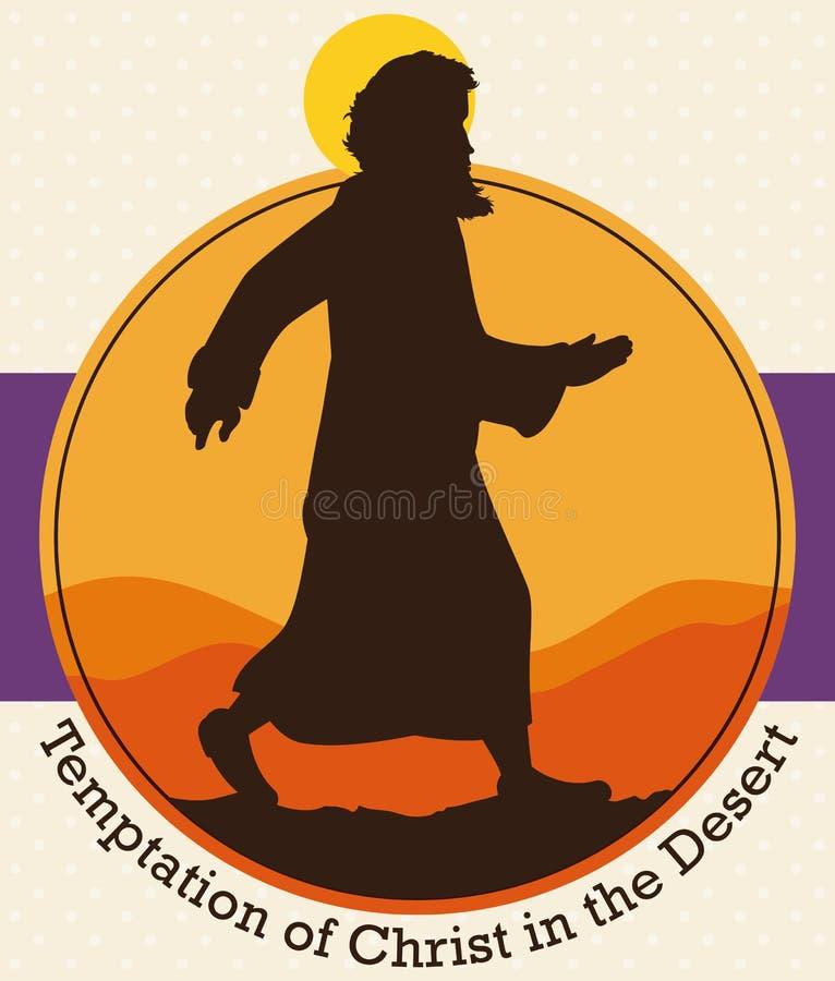 Het Silhouet van Jesus Christ ` s over de Woestijn om Lent Season, Vectorillustratie te herdenken royalty-vrije illustratie