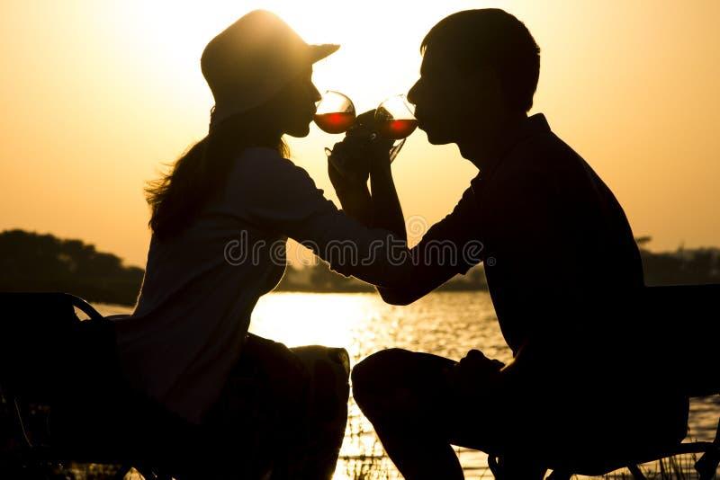 Het silhouet van jongelui koppelt in liefde op een picknick uit broederschap van de stads het drinkende wijn van glasdrinkbekers  stock afbeelding
