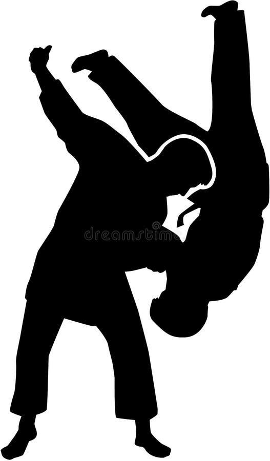 Het silhouet van judovechters royalty-vrije illustratie
