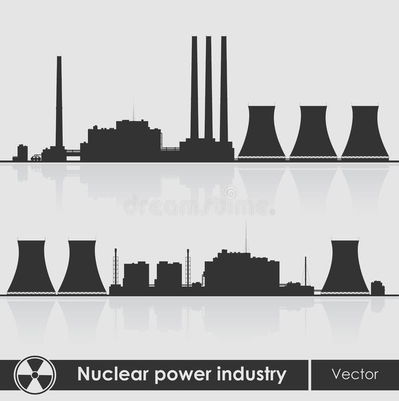 Het silhouet van kernenergieinstallaties vector illustratie
