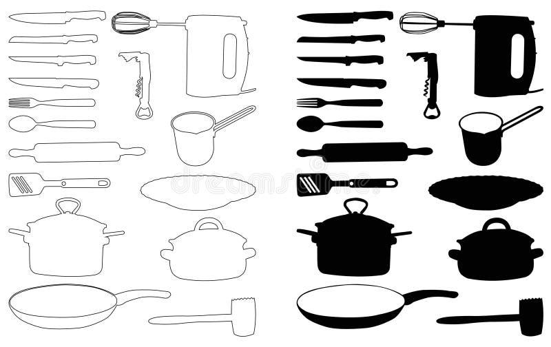 Het silhouet van keukenelementen - vastgestelde pictogrammen royalty-vrije illustratie