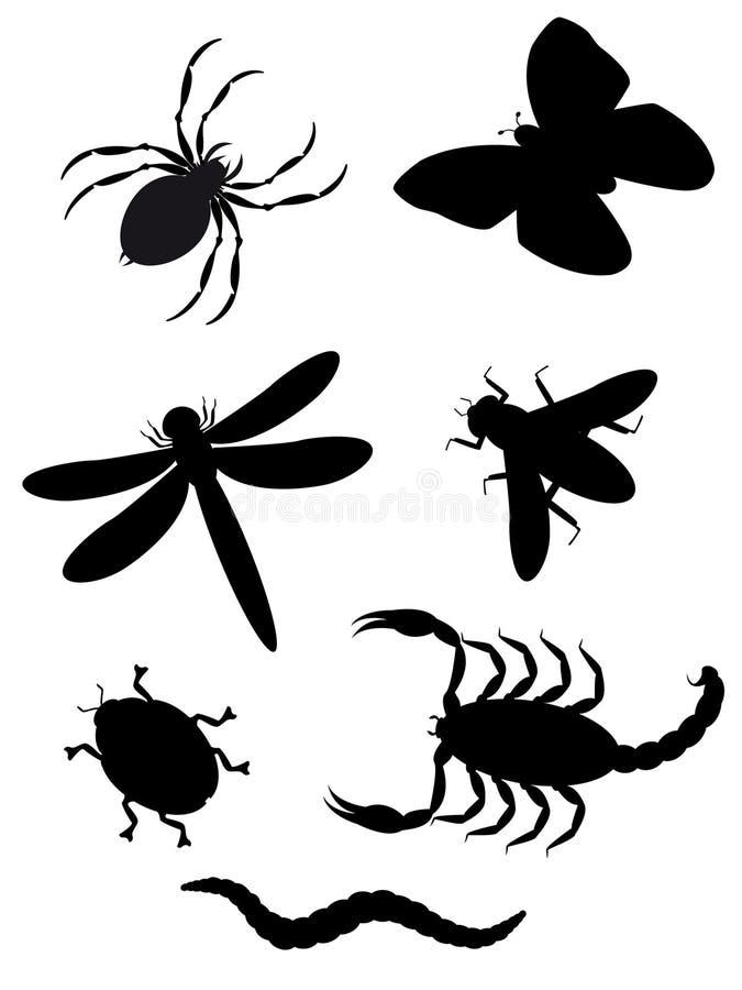 Het silhouet van kevers en van insecten stock illustratie