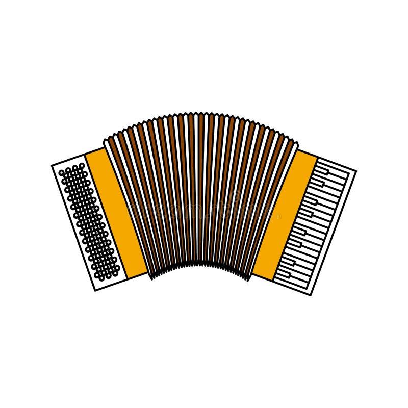 Het silhouet van kleurensecties van harmonika met dikke contour stock illustratie