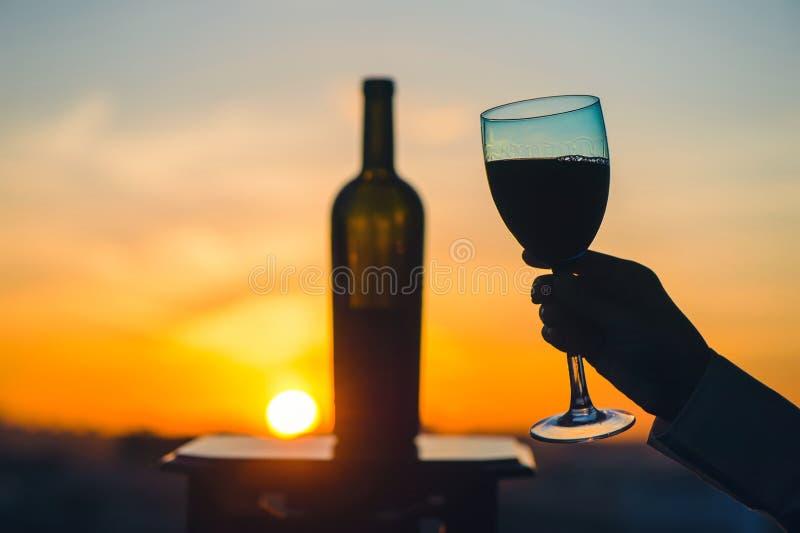 Het silhouet van mannetje en wijfje overhandigt roosterende wijn op zonsondergangachtergrond Het romantische paar vieren bij een  stock afbeeldingen