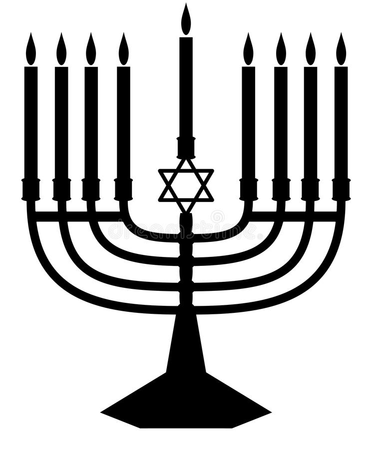 Het silhouet van Menorah vector illustratie