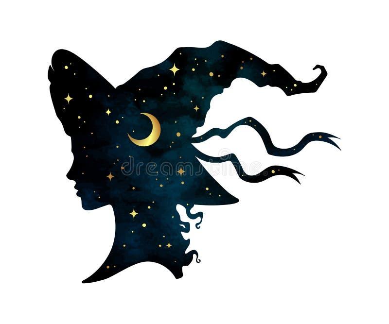 Het silhouet van mooi krullend heksenmeisje in pointy hoed met toenemende maan en sterren in profiel isoleerde hand getrokken vec vector illustratie