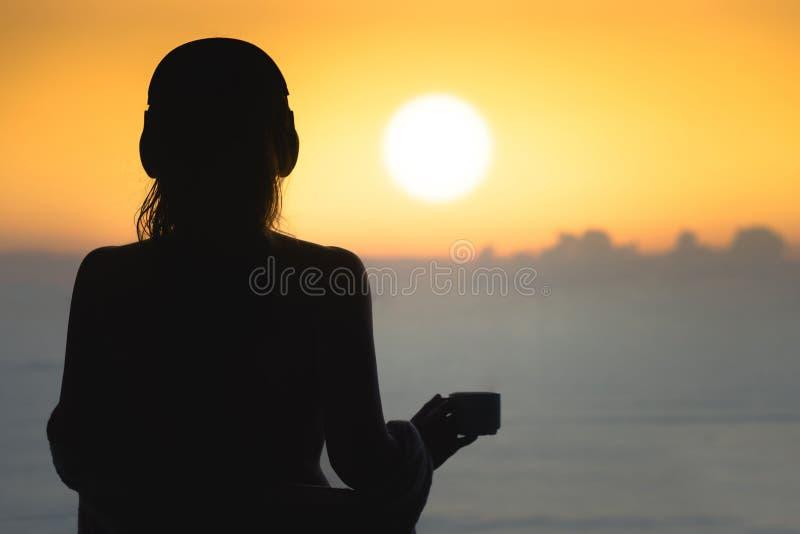 Het silhouet van naakte vrouw met nat haar verpakte in een deken na het zwemmen royalty-vrije stock fotografie