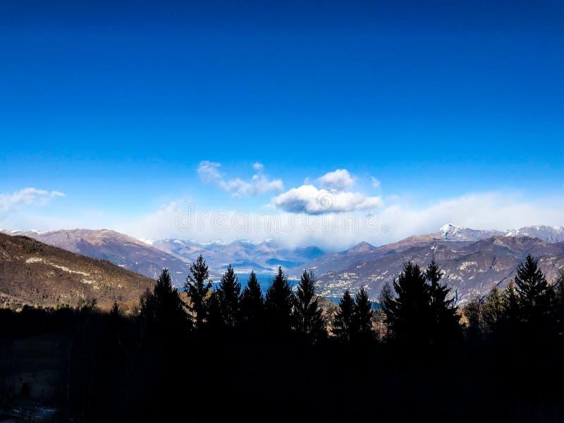 Het silhouet van pijnboombomen in het Italiaans de bergenlandschap van de Alp royalty-vrije stock foto