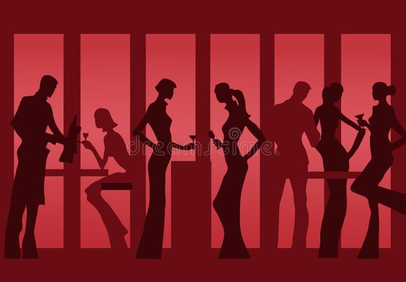 Het silhouet van Restourant stock illustratie