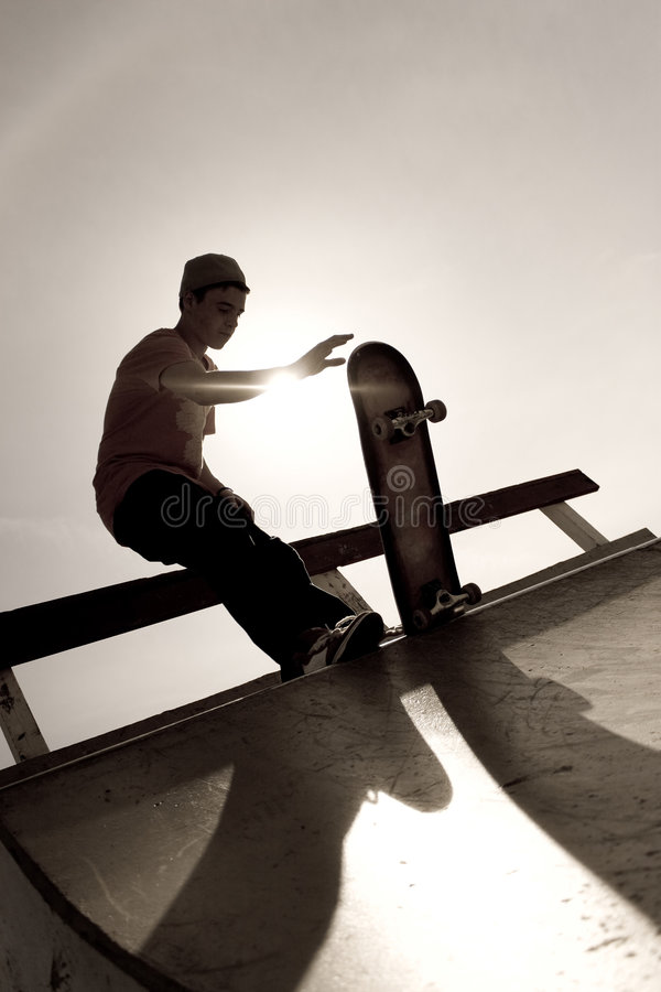 Het Silhouet van Skateboarder royalty-vrije stock fotografie
