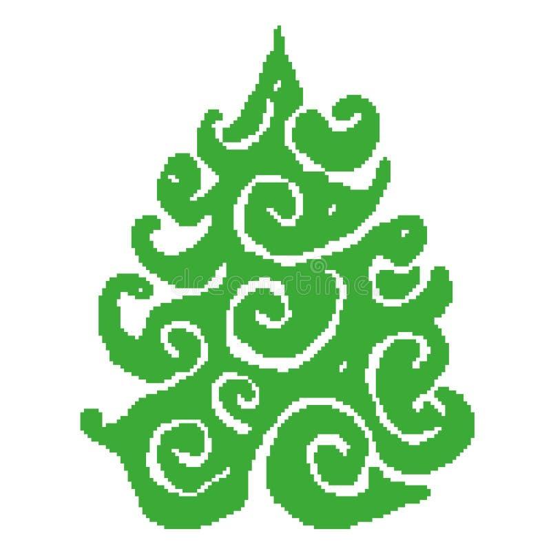 Het silhouet van sparren in de vorm van een patroon, tierelantijntjes schilderde in vierkanten, pixel Vector illustratie stock illustratie