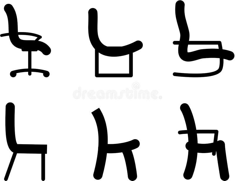 Het silhouet van stoelen stock illustratie