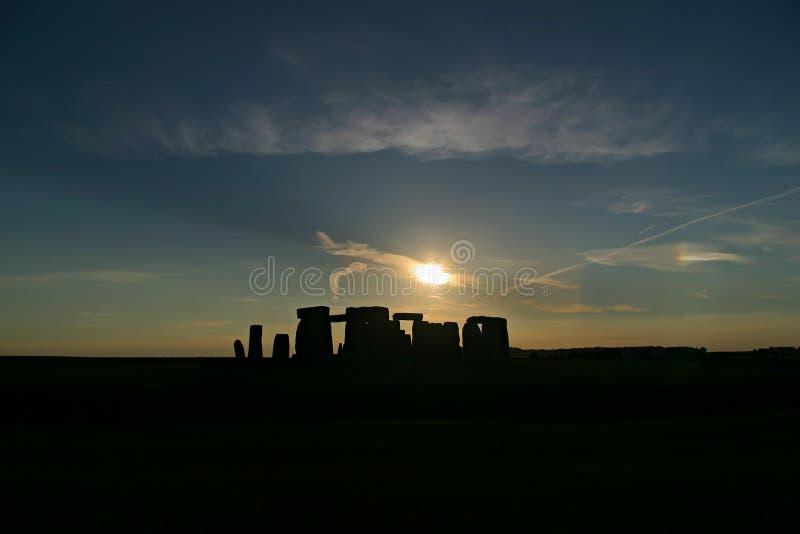 Het Silhouet van Stonehenge stock afbeelding