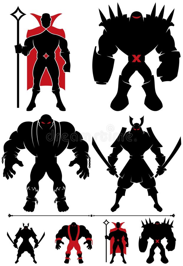 Het Silhouet van Supervillain vector illustratie