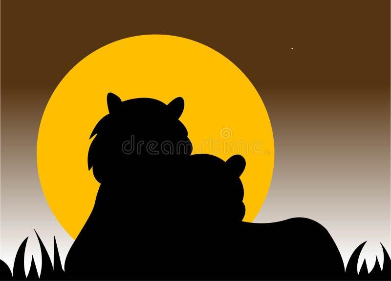 Het silhouet van tijgers royalty-vrije illustratie
