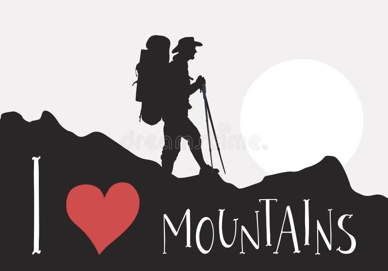 Het silhouet van toerist met rugzak loopt onder de bergen Met de hand geschreven van letters voorziende I-liefdebergen royalty-vrije illustratie