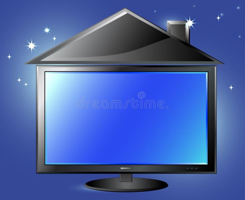 Het silhouet van TV en van het huis op de achtergrond van de nachthemel vector illustratie