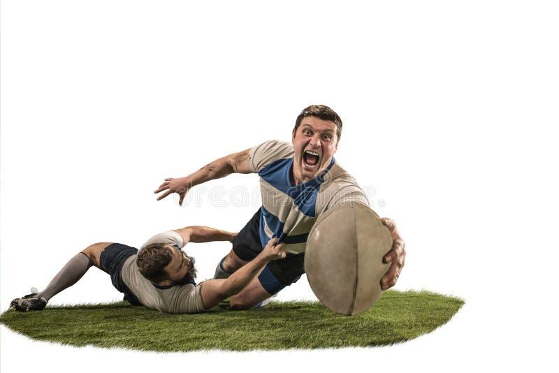 Het silhouet van twee de Kaukasische die speler van de rugbymens op witte achtergrond wordt geïsoleerd stock fotografie