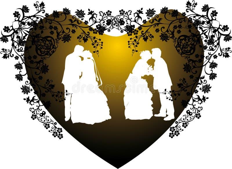 Het silhouet van twee huwelijksparen in hart vector illustratie
