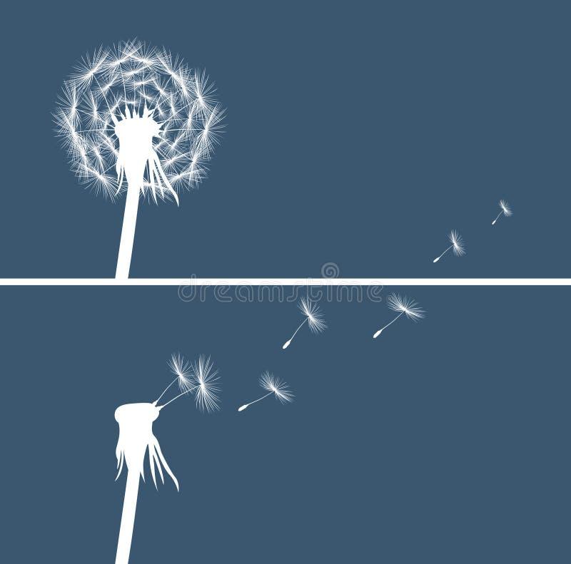 Het silhouet van twee paardebloemknoppen op blauw stock illustratie