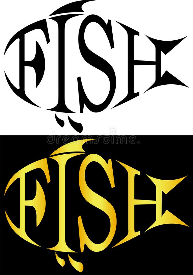 Het silhouet van vissen van brieven vist minimalistic embleem stock afbeelding