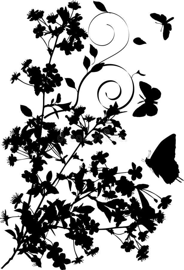 Het silhouet van vlinders en van de bloemen van de kersenboom stock illustratie