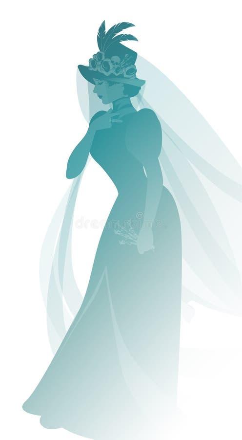 Het silhouet van vrouw kleedde zich in sluiers en oude weduwenkleren die een twijg van bloemen in één hand dragen royalty-vrije illustratie