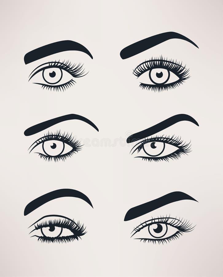 Het silhouet van vrouwelijke ogen opent, verschillende vormen royalty-vrije illustratie
