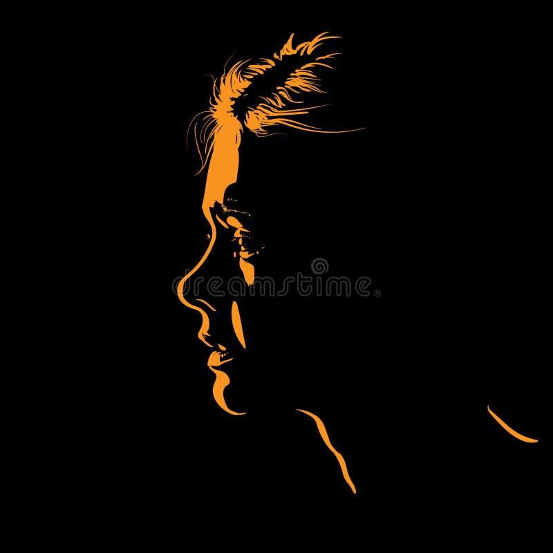 Het silhouet van het vrouwengezicht in backlight Vector Illustratie stock illustratie