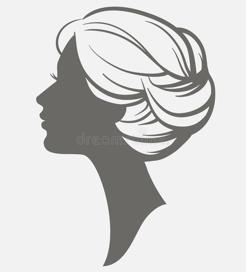 Het silhouet van het vrouwengezicht Vrouwelijk hoofd met modieus kapsel vector illustratie