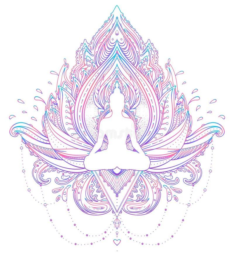 Het silhouet van zittingsboedha over sierlotus-bloem esoterisch royalty-vrije illustratie