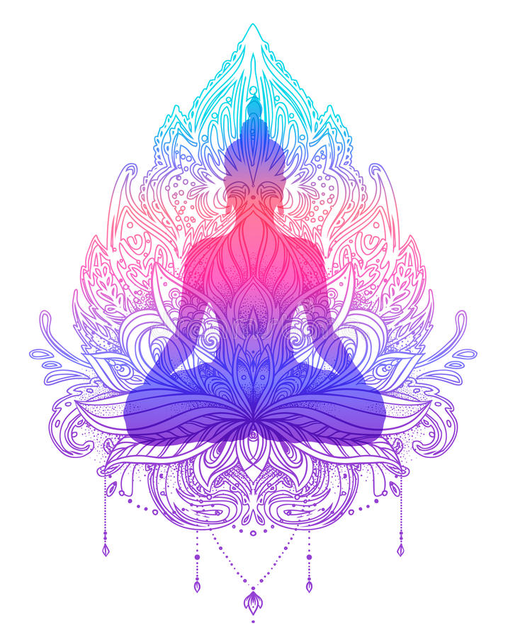Het silhouet van zittingsboedha over sierlotus-bloem esoterisch vector illustratie