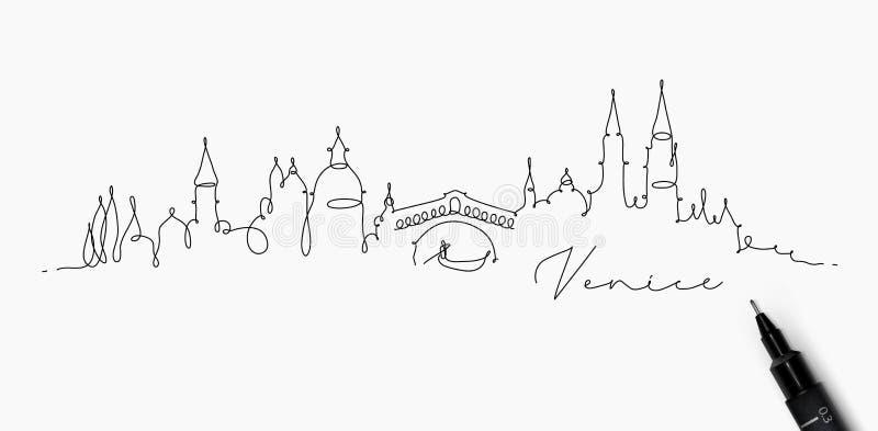 Het silhouet Venetië van de penlijn stock illustratie