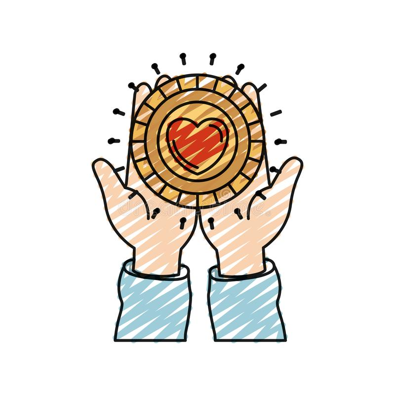 Het silhouet vooraanzicht die van het kleurenkleurpotlood van handen in palmen een muntstuk met hartvorm houden binnen liefdadigh vector illustratie