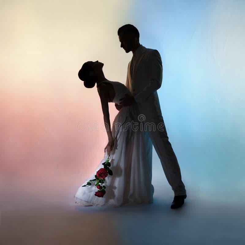 Het silhouetbruidegom en bruid van het huwelijkspaar op kleurenachtergrond stock foto's