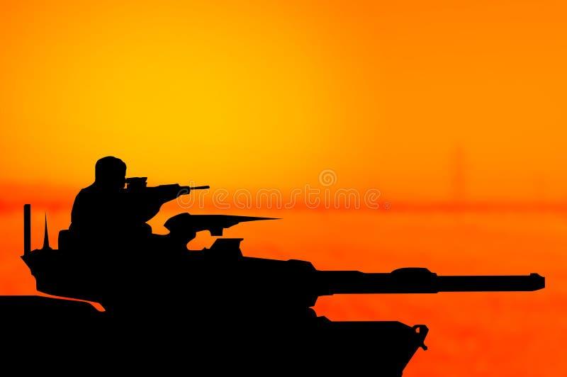 Het silhouetconcept van de legertank royalty-vrije illustratie