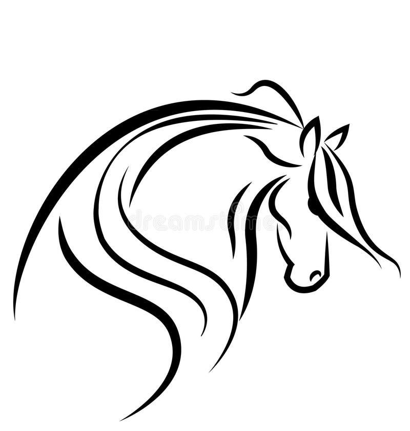 Het silhouetembleem van het paard vector illustratie