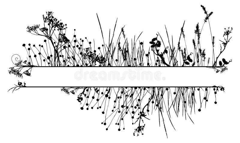 Het silhouetframe van het gras royalty-vrije illustratie