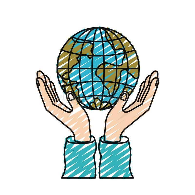 Het silhouethanden van het kleurenkleurpotlood met het drijvende symbool van de de wereldliefdadigheid van de aardebol stock illustratie