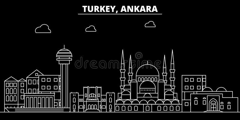 Het silhouethorizon van Ankara De vectorstad van Turkije - van Ankara, Turkse lineaire architectuur, gebouwen De reis van Ankara vector illustratie
