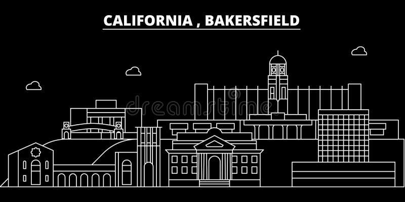 Het silhouethorizon van Bakersfield De V.S. - De vectorstad van Bakersfield, Amerikaanse lineaire architectuur, gebouwen bakersfi stock illustratie