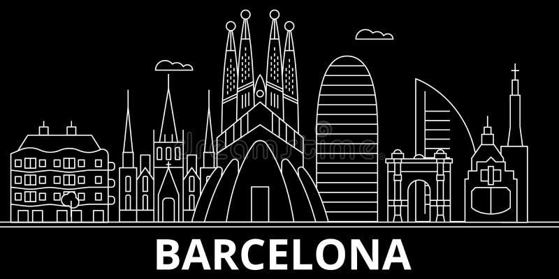 Het silhouethorizon van Barcelona De vectorstad van Spanje - van Barcelona, Spaanse lineaire architectuur, gebouwen De lijn van B vector illustratie