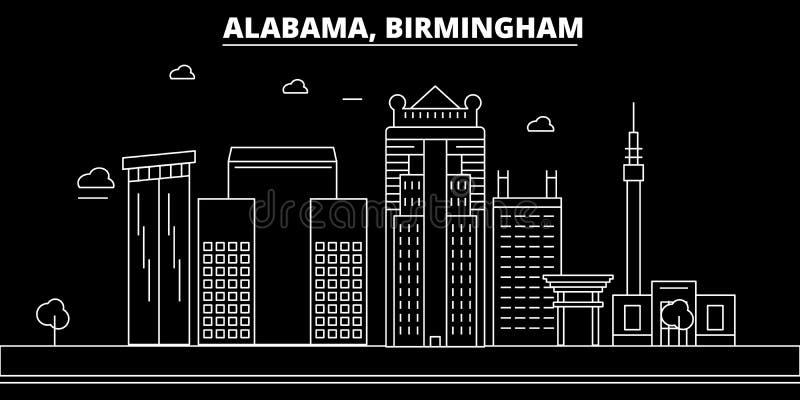 Het silhouethorizon van Birmingham De V.S. - De vectorstad van Birmingham, Amerikaanse lineaire architectuur, gebouwen De reis va royalty-vrije illustratie