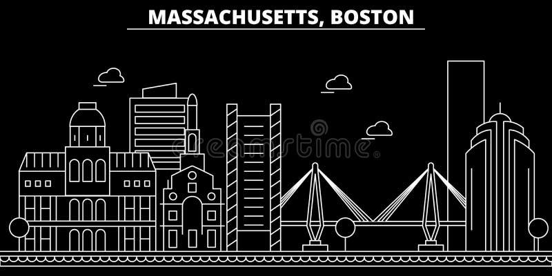 Het silhouethorizon van Boston De V.S. - De vectorstad van Boston, Amerikaanse lineaire architectuur, gebouwen De reisillustratie royalty-vrije illustratie