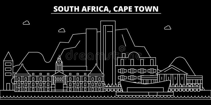 Het silhouethorizon van Cape Town Zuid-Afrika - de vectorstad van Cape Town, Zuidafrikaanse lineaire architectuur De reis van Cap stock illustratie