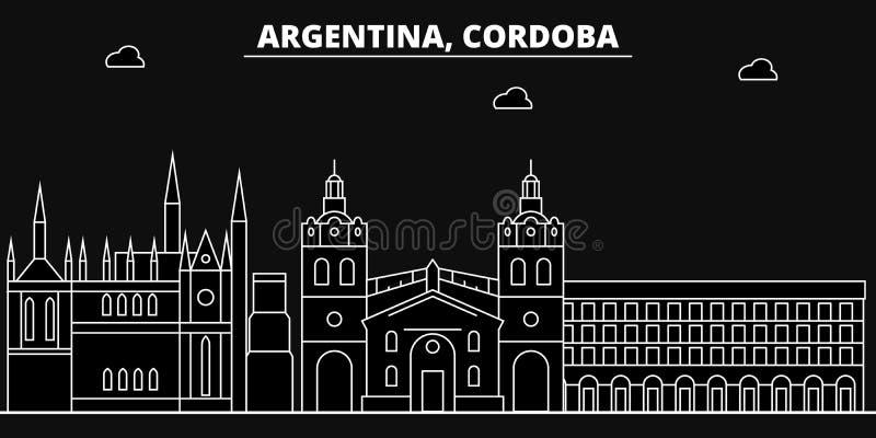 Het silhouethorizon van Cordoba De vectorstad van Argentinië - van Cordoba, Argentijnse lineaire architectuur, gebouwen De lijn v royalty-vrije illustratie