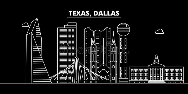 Het silhouethorizon van Dallas De V.S. - De vectorstad van Dallas, Amerikaanse lineaire architectuur, gebouwen De reisillustratie vector illustratie